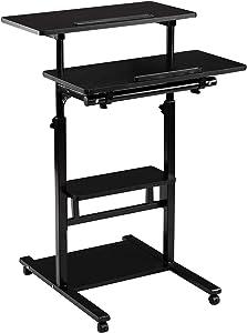 DOEWORKS Mobile Stand Up Desk, Height Adjustable Computer Work Station with Wheels, Rolling Presentation Cart