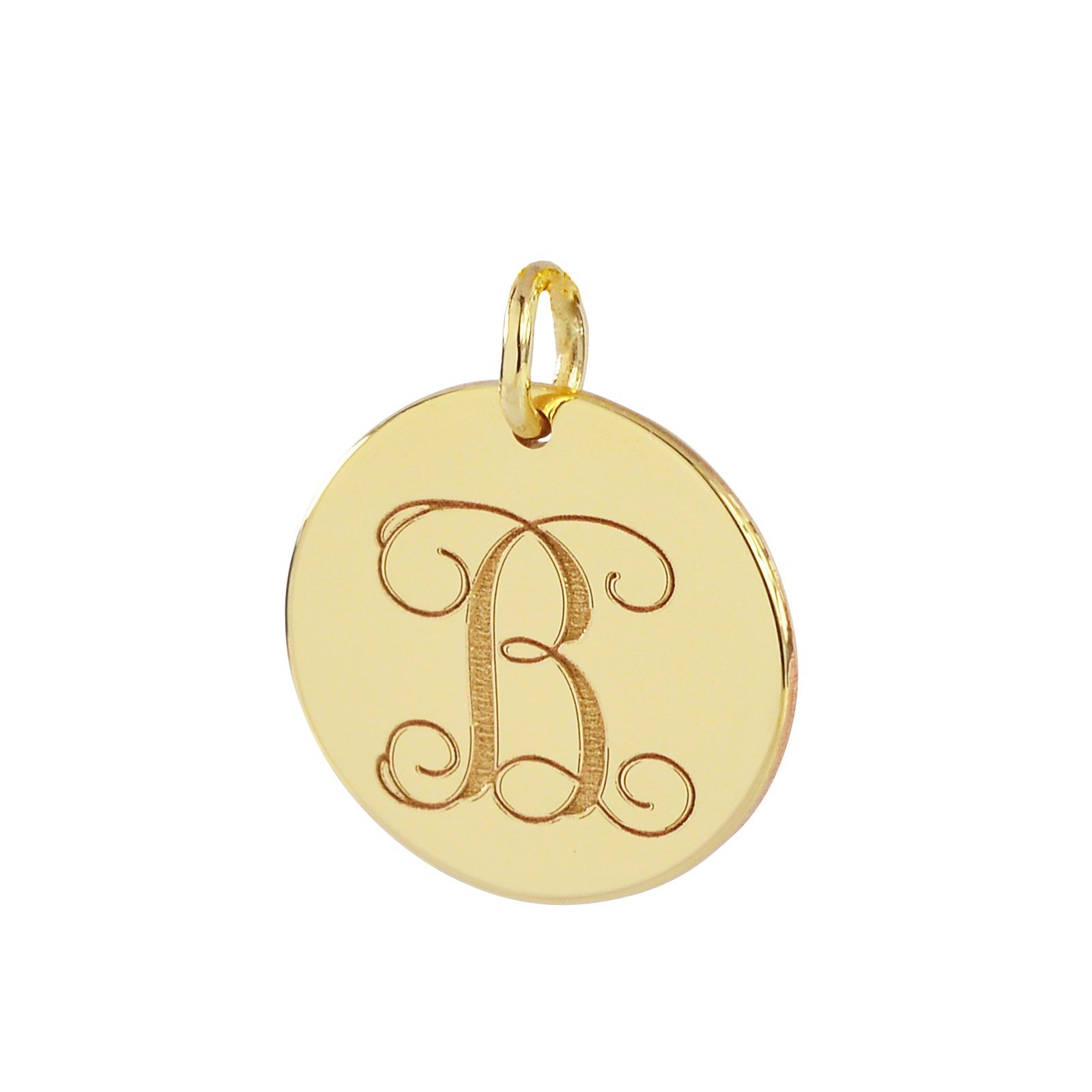 Solid 14k Gold Dainty Small Round Disc Pendant Custom Laser Engraved Both Sides