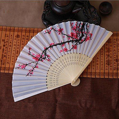 Little Story  Folding Fan Clearance , Vintage Bamboo Folding Hand Held Flower Fan Chinese Dance Party Pocket Gifts -