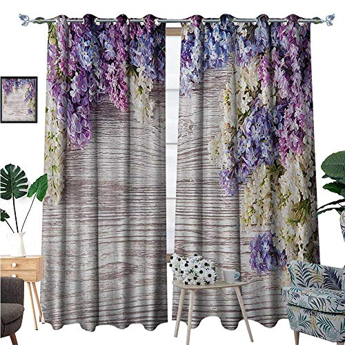 Rustic Room Darkening Wide Curtains Lilac Flowers Bouquet on Wood Table Spring Nature Romance Love Theme Decor Curtains by W96 x L108 Lilac Violet Dark Taupe