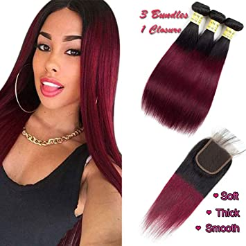 Ombre Hair Burgundy 1b 99j Hair Straight Hair Red Brazilian Virgin Hair Bundles With Closure 4x4