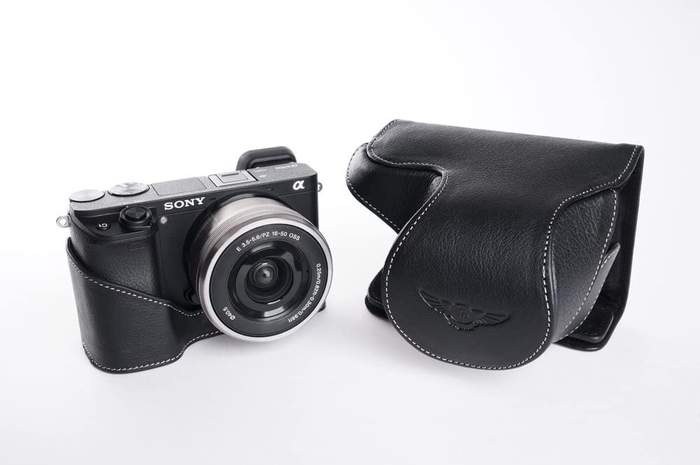 Handmade Genuine Real Leather Full Camera Case Bag Cover for Sony A6300 with 16-50mm Lens Bottom Open Black color