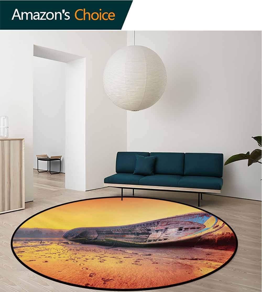 RUGSMAT Shipwreck Modern Machine Washable Round Bath Mat,Scrapped Old Rusty Ruined Damaged Ship Sitting On The Sandy Beach Dramatic Scenery Non-Slip Soft Floor Mat Home Decor,Round-59 Inch