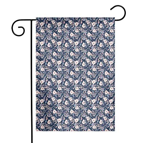 Victorian Garden Flag Vintage Romantic Rose and Magnolia Bouquet with Twigs on Dark Backdrop Premium Material W12 x L18 Dark Blue Pale Pink