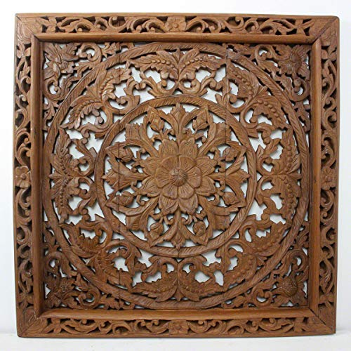 HAUSSMANN Lotus Wall Panel Teak Wood Inlay Sq 90 cm (35 inch) in Brown Stain and Nat Wax F