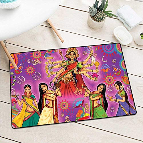 Custom&blanket Bengal Commercial Grade Entrance Mat Asian Woman in Colorful Dress Cartoon Style Figures On Paisley and Flower Backdrop Door Mat Floor Decoration (W29.5 X L39.4 inch,Multicolor)