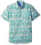 IZOD Men's Saltwater Dockside Chambray Print Short Sleeve Shirt, Jade Green, Medium