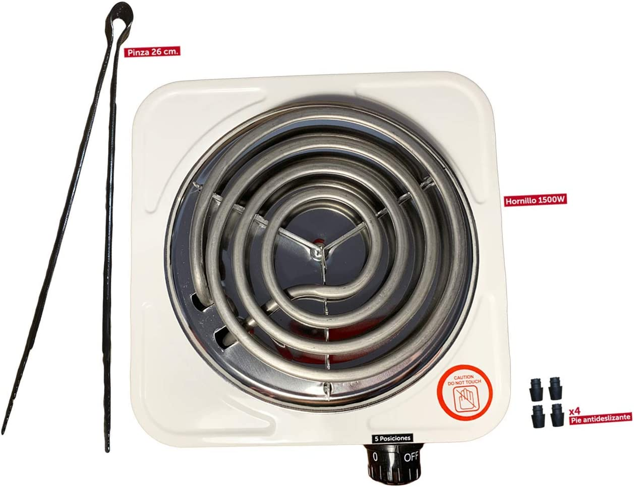 Hornillo eléctrico portátil para Cachimba - Shisha - Hookah | Cocina | Camping. 1500 W de Potencia. Incluye Pinzas para carbones de 26 cm.