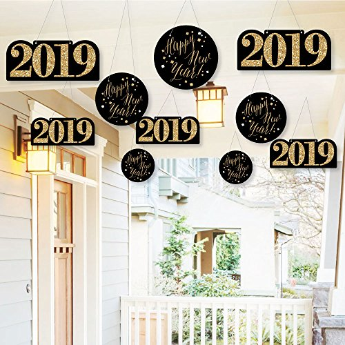 Hanging New Year's Eve - Gold - Outdoor Hanging Decor - 2019