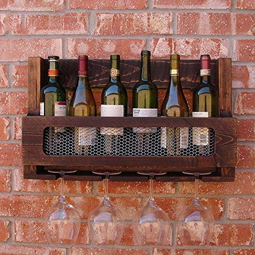 KMYX American Country Style Pine Wood Wine Shelf Wall-Mounted Wine Cabinet Coffee Shop Wine Glass Rack Pure Wood Wall Hanging Wine Rack Bar Restaurant Home Wine Rack Wine Holder
