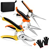 KeShi Garden Steel Pruning Shears, Professional Gardening Scissors Cutter Clippers Set, 3 Pack Stainless Steel Blades Handhel