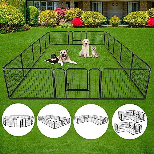 S AFSTAR Safstar 40/48 inch Dog Pen Pet Puppy Playpen Exercise Pens Gate Portable Folding Indoor Outdoor Metal Kennel Fence Pet Playpen 16 Panels (48