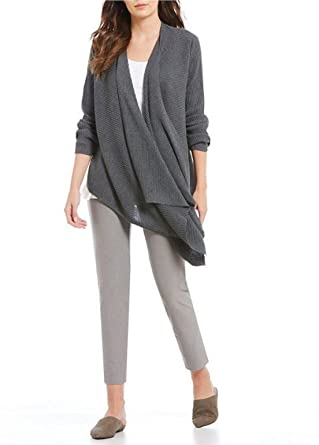 c7395249d3b Eileen Fisher Bark Ribbed Wool Angle Front Cardigan Size S MSRP  298 at  Amazon Women s Clothing store
