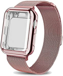 amhello Stainless Steel Magnetic Loop Band with Watch Face Case Compatible with Apple Watch 38 mm All Models, Strap Metal Mesh Wristband Sport fit for Aple Watch 38mm Series SE 5 6 4 3 2 1 Baby Pink