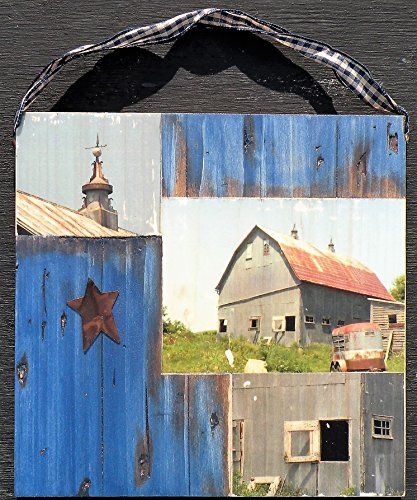 Pine Cupola (Rustic Blue Wood Photo of Iowa Barn, Old Iowa Original Photography Barn Picture on Hand Crafted Wood Plaque, Handmade Wood Photo Transfer of Country Barn in Iowa, Distressed Blue Pine)