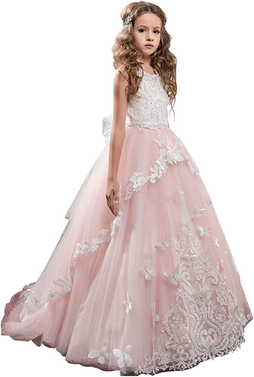 Kids Girls Party Dress Bridesmaid Tulle Long Dresses Prom Gown Beads Christmas