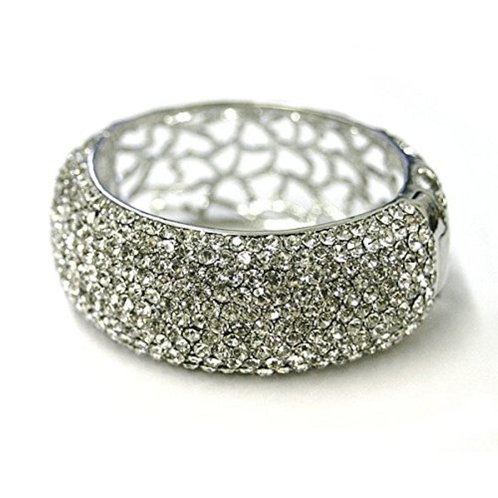 Bridal Wedding 11 Rows Clear Crystal Diamond Hinge-style Bangle Bracelet Large