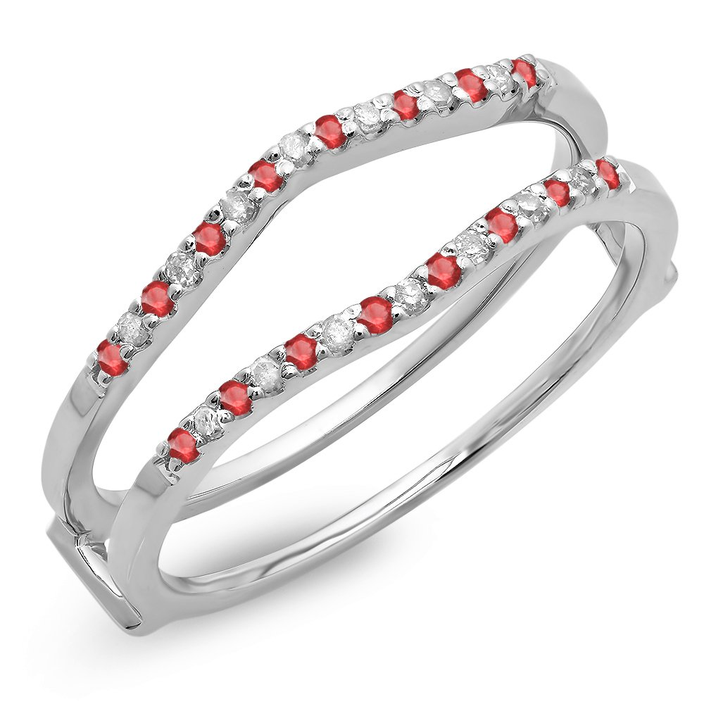 14K White Gold Round Ruby Ladies Anniversary Wedding Enhancer Guard Double Ring (Size 6.5)