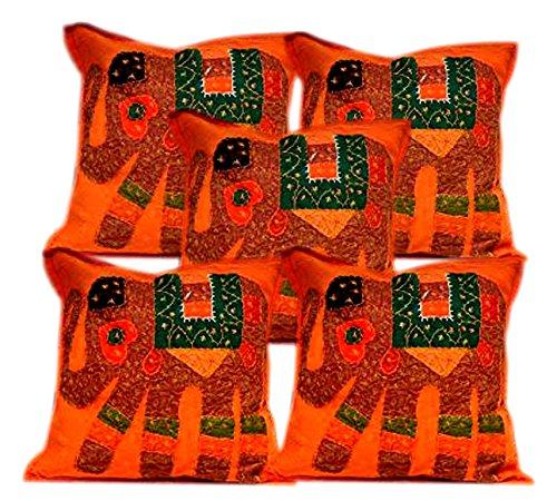 50 pcs Home décoratif Patchwork Motif éléphant Orange ethnique Housses de coussin en gros Lot)