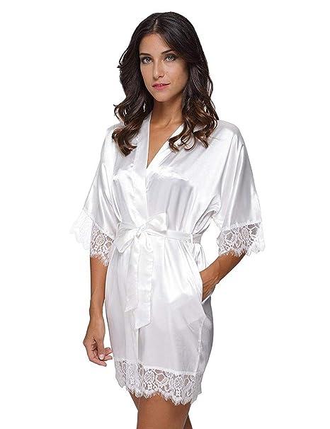 Plunge Kimono Mujer Batas Cortos Lencería Kimono del Cordón Satén Seda Camisón Ropa Salto Dormir Cama: Amazon.es: Ropa y accesorios