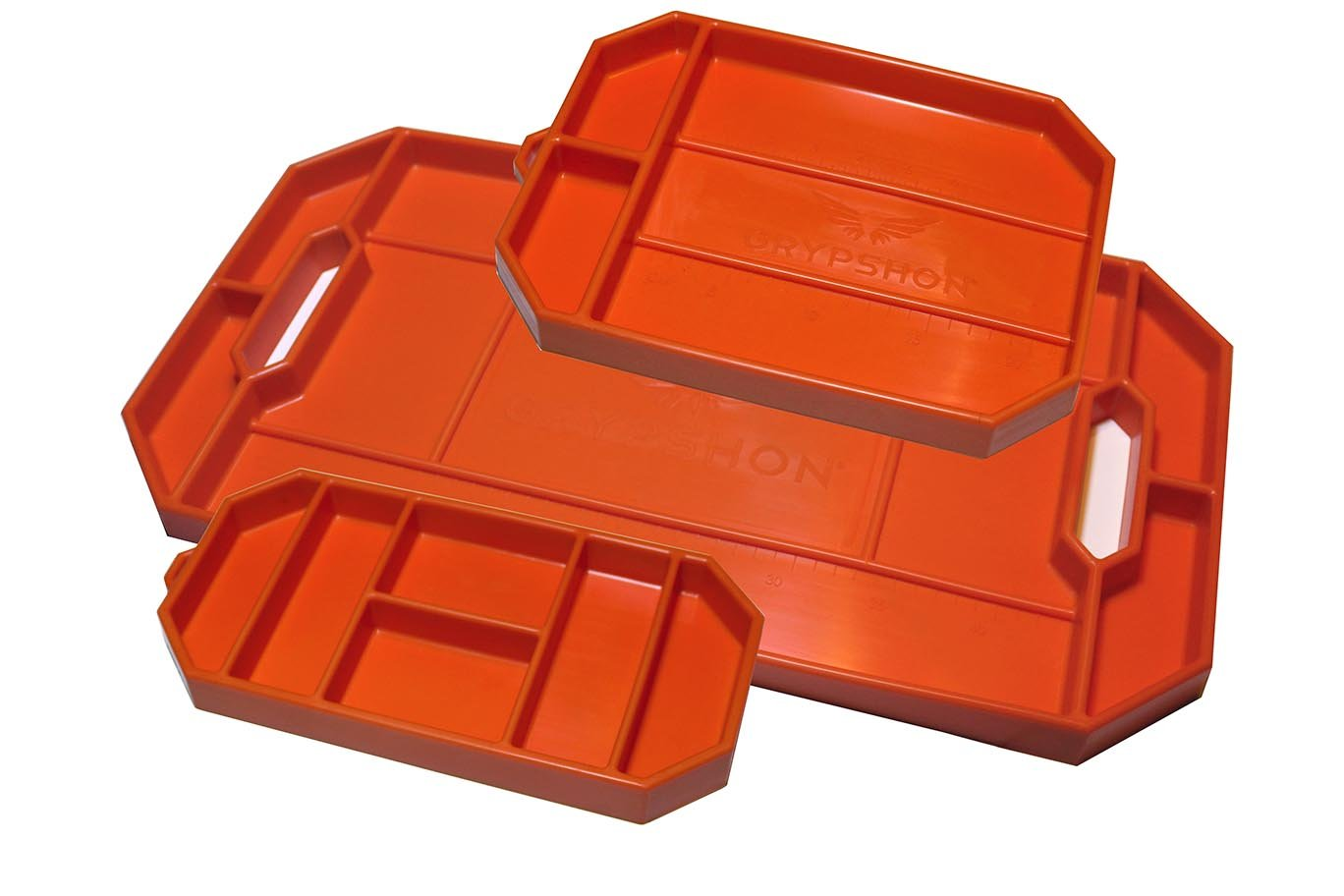 Grypmat | Non-Slip Flexible Orange Tool Tray | Tool Box Organizer | Socket Organizer | Tool Holder | Tool Mats | No Magnets | Grip Mat Tool Mat | Easy Clean Up | As Seen On Shark Tank (Trio Pack)