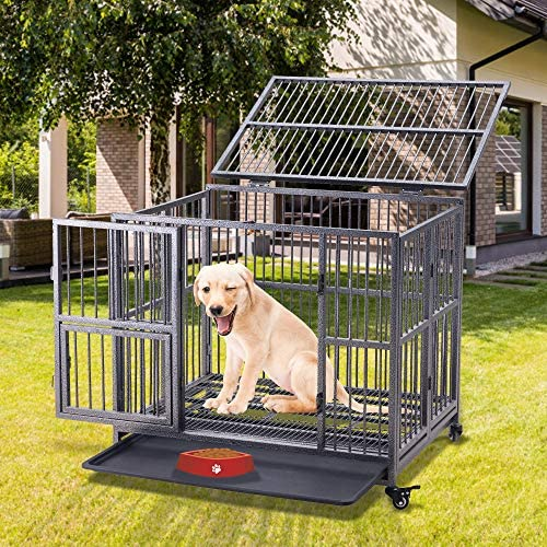Binrrio 37 Heavy Duty Dog Cage Crate Strong Metal Pet Kennel for Medium Large Dog with Two Prevent Escape Lock, Lockable Wheels, Removable Tray for Indoor Outdoor