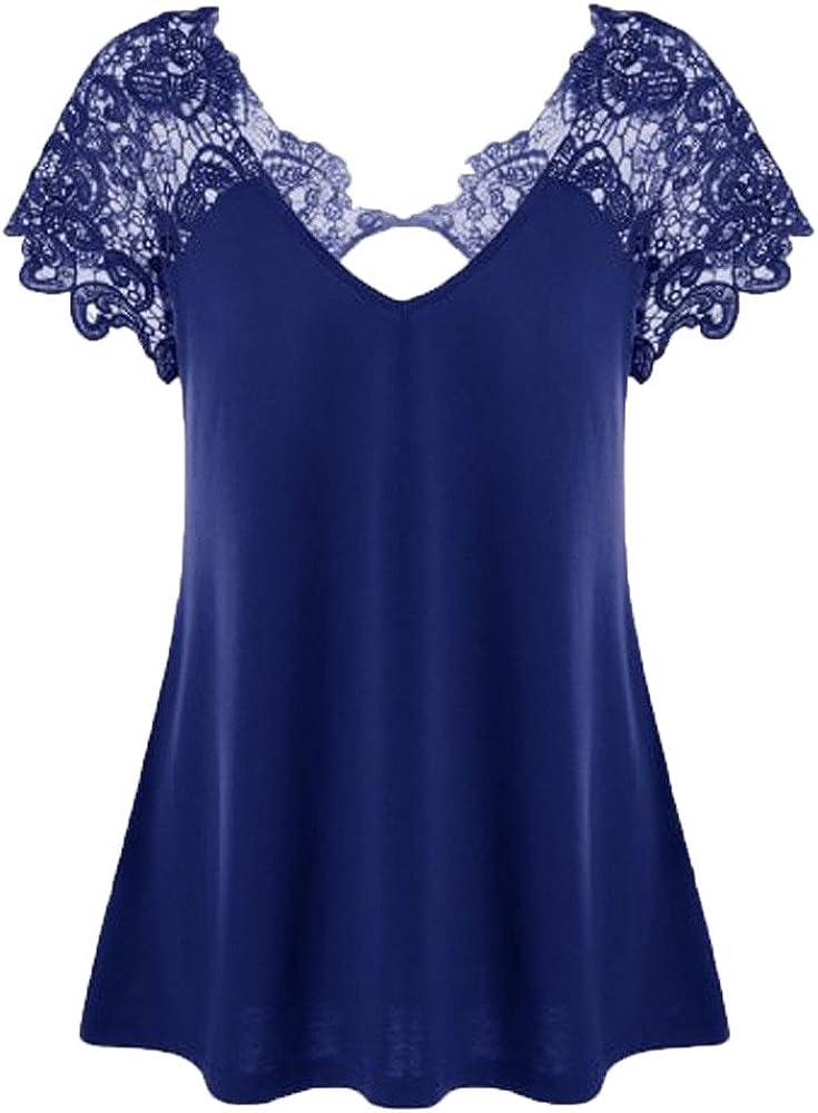Tops de Mujer Talla Grande LANSKIRT Camisetas de Mujer Elegante Encaje Camisas de Fiesta Manga Cortos Blusas de Verano para Mujer con Cuello en v Top de Moda Camisetas t Shirt 3XL: