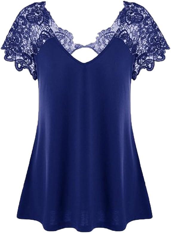 9d39e0759aa8 Tops de Mujer Talla Grande ❤️ LANSKIRT Camisetas de Mujer Elegante Encaje  Camisas de Fiesta Manga Cortos Blusas de Verano para Mujer con Cuello en ...