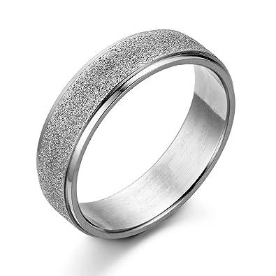 JewelryWe Anillo de la joyería de la mujer del hombre Acabado en estera de acero inoxidable