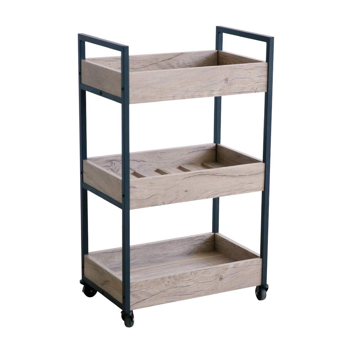 Roomfitters 3 Tier Rolling Utility Storage Cart, Kitchen Serving Bar Cart, Multipurpose Bathroom Nursery, Oak by Roomfitters