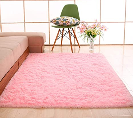 YJ.GWL Soft Pink Rugs for Girls Room Bedroom Baby Nursery Carpet Shaggy  Area Rugs Home Decor 4 x 5.3 ft(New Generation)