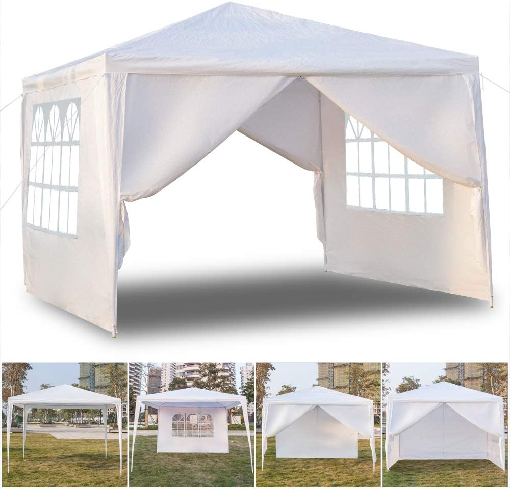 Quklei Canopy Tent, Outdoor Party Event Wedding Tent Waterproof Sun Shelter Canopy White US Stock 3 x 3m Four Sides