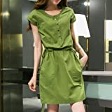 TOPUNDER Button Down Shirt Dress for Women