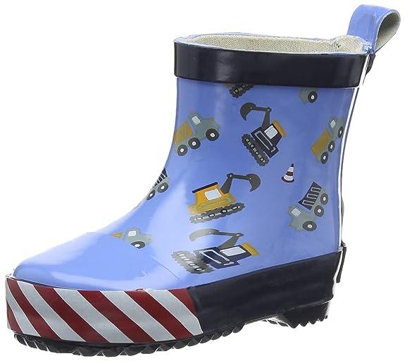 Playshoes Kinder Halbschaft-Gummistiefel aus Naturkautschuk, trendige Unisex Regenstiefel mit Reflektoren, mit Bagger-Muster