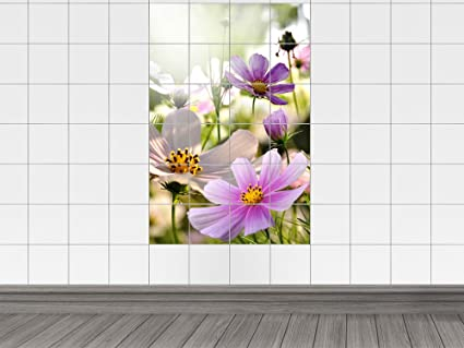 Piastrelle adesivo piastrelle immagine estate liche prato in fiore