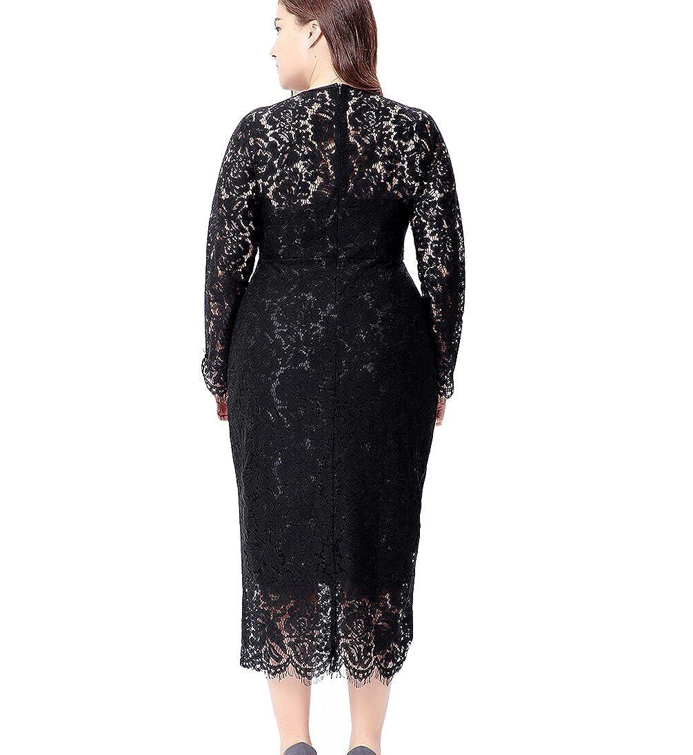 466c73e1b59 Eternatastic Women s Floral Lace Long Sleeve Plus Size Lace Dress Black at  Amazon Women s Clothing store