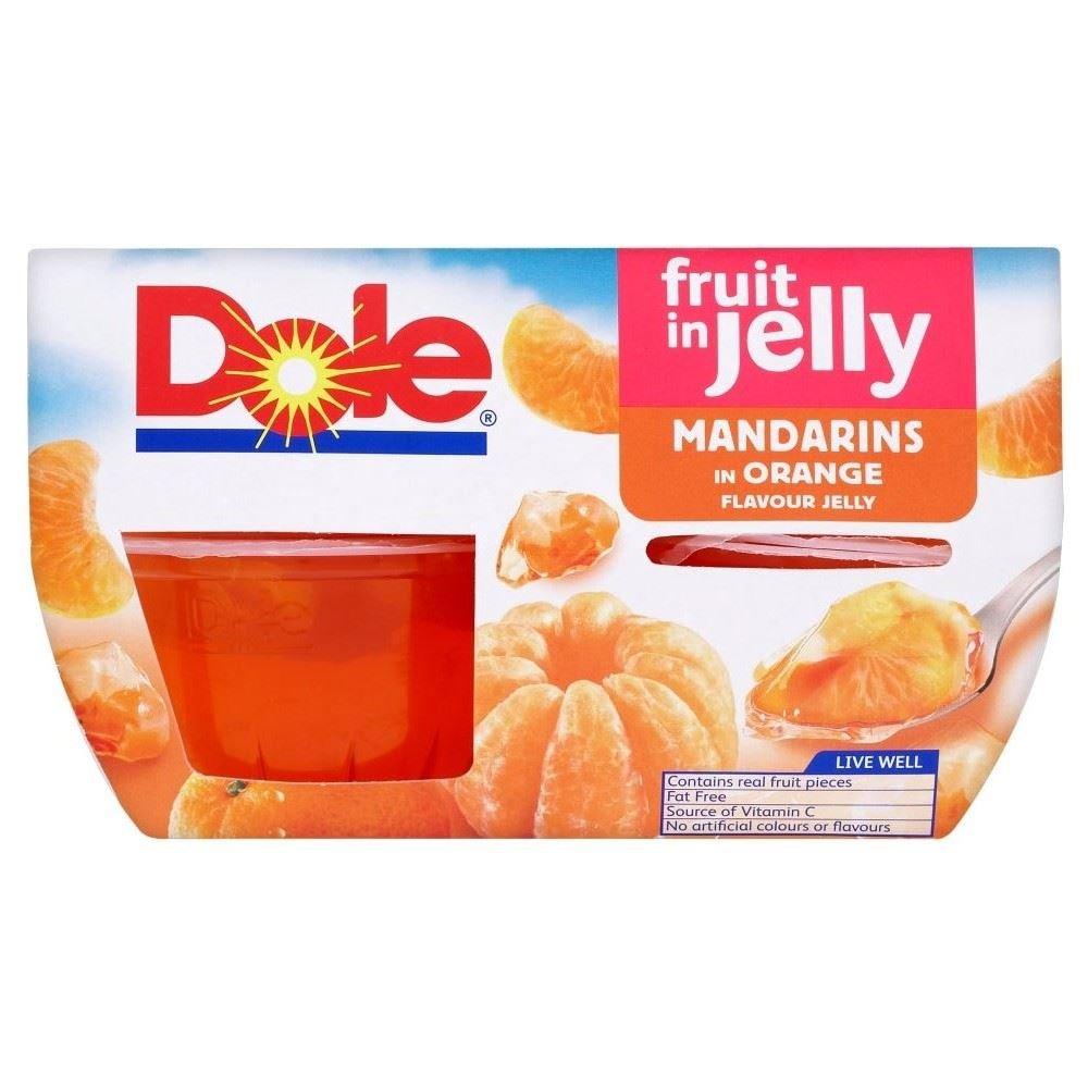 Dole Fruit Gel Bowls Mandarins in Orange Flavour Jelly (4x113g) - Pack of 2