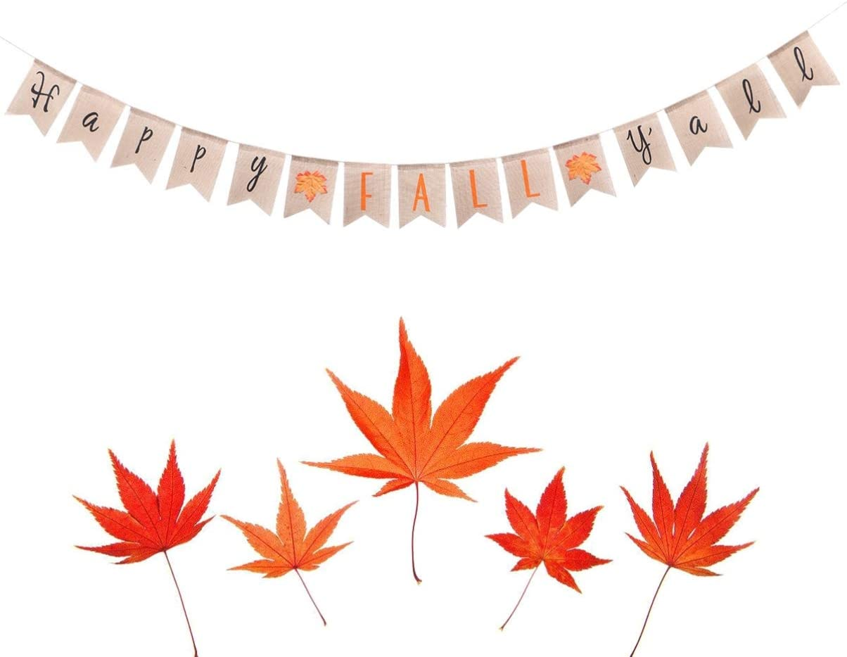 Happy Fall Yall Sign Thanksgiving Bunting Banner Garland Thanksgiving Fall Decoration Supplies
