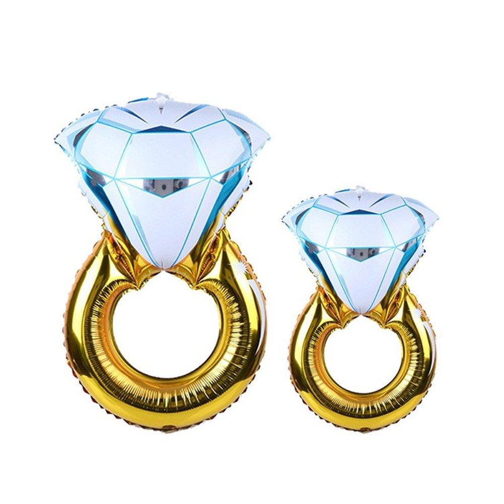 ジャイアントバルーン43インチと33インチダイヤモンドリングダイヤモンドリング箔ヘリウムバルーンfor独身パーティー子供、パーティー、ブライダルシャワーパーティー誕生日Vow Renewalウェディングデコレーションby wuleeuper   B075FB5RMP
