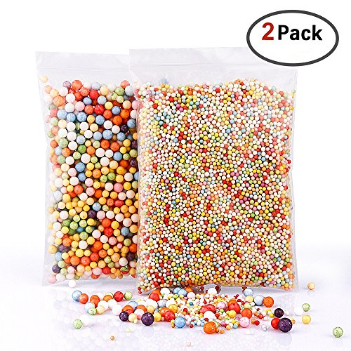 BASEIN Foam Beads for Slime Colorful Foam Beads Rainbow Foam Beads Styrofoam Balls Decoration for Slime Kids Hand Made Slime Crafts Decorative Accessory 2 Pack