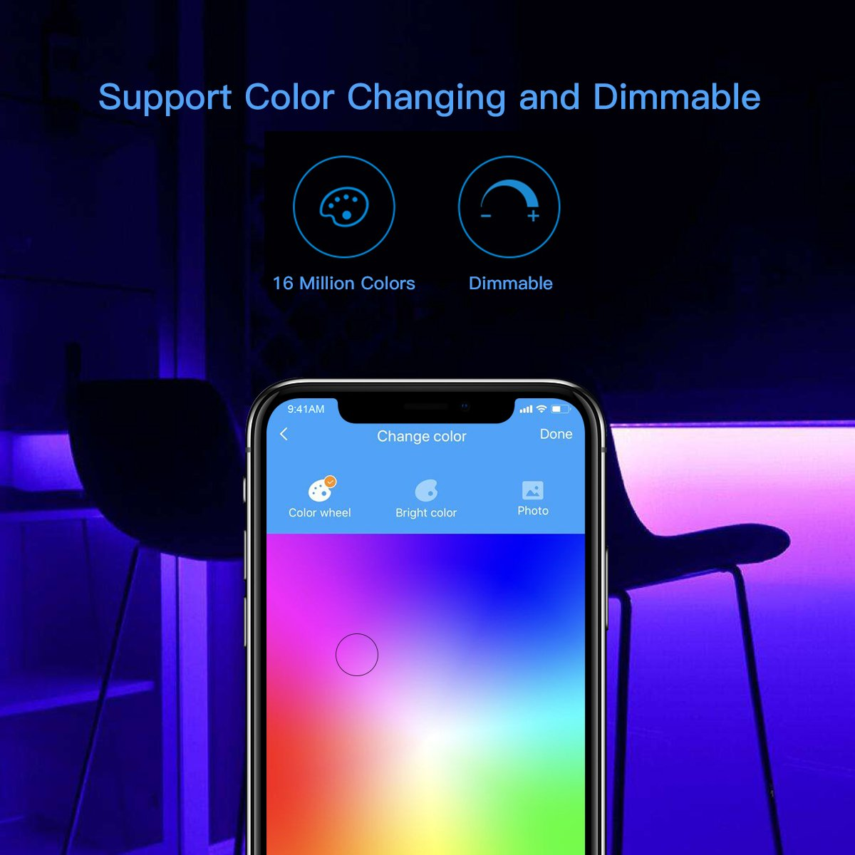 Koogeek Dimmable Smart LED Light Strip, Siri Timer Remote Control, 16000K Colors USB Powered 2m Compatible with Apple HomeKit, Android, Alexa, Alexa Echo and Google Assistant on 2.4Ghz by Koogeek (Image #3)