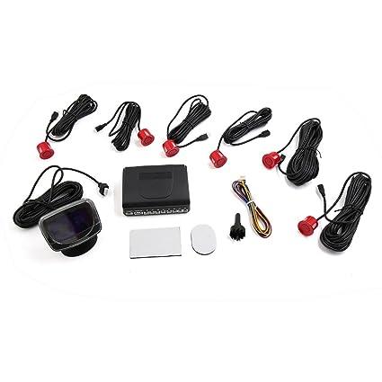Sourcingmap Vehículo Coche Leds Pantalla Parking 6 Sensores de Distancia de Marcha Atrás Reversa Parking Kit