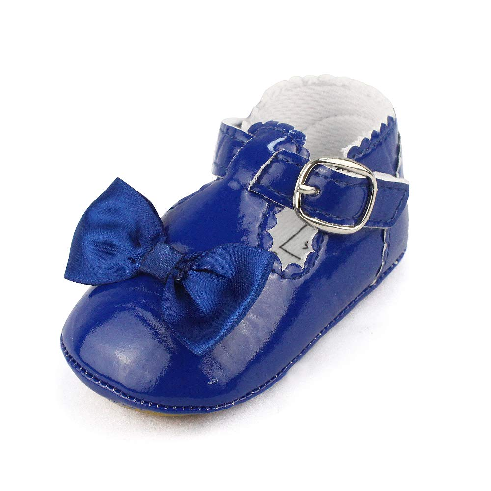 Infant Baby Girls Bowknot Rubber Sole Mary Jane Toddler Sneakers Prewalker Wedding Dress Shoes Navy, 3-6 Months