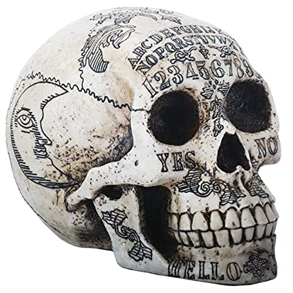 Ouija Symbols Skull Skeleton Head Halloween Figurine