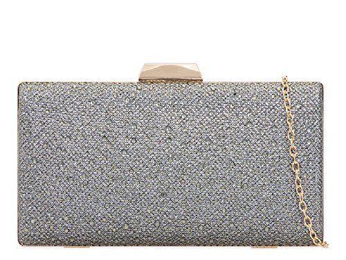 Formal 2 Glittery Ladies Clutch Wedding Bag Box KT706 Bridal Handbag Bag Women's Grey Party w8q7H8dr