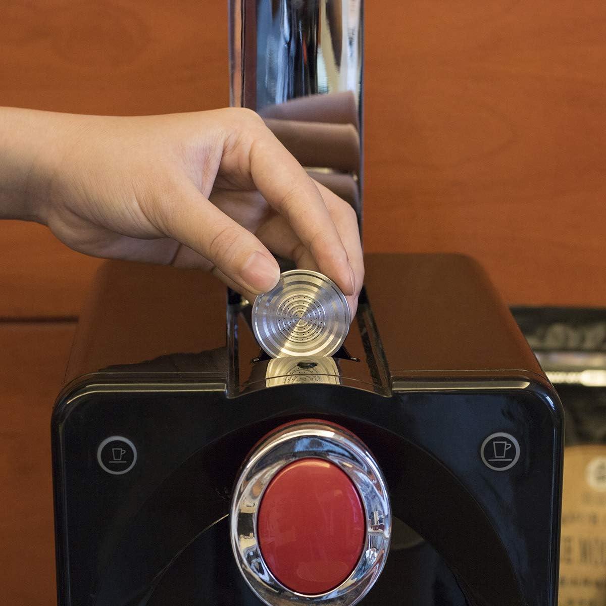 Junta T/órica Slicone Incluida Acero Inoxidable S/ólo Apoyo Compatibles Nespresso U//CitiZ-Cepillo C/ápsulas De Caf/é Reutilizables TiooDre F/ácil De Limpiar Capsula Recargable Cuchara