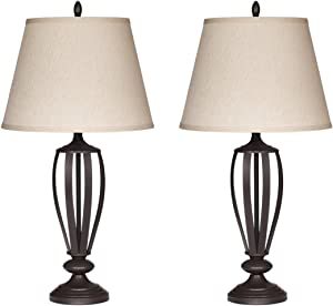 Ashley Furniture Signature Design -Mildred Metal Table Lamp - Vintage Casual Shades - Set of 2 - Bronze
