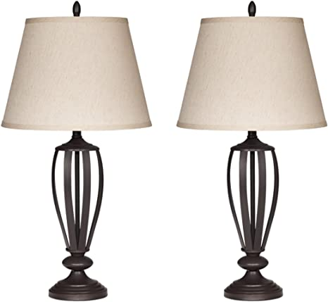 Amazon Com Signature Design By Ashley Mildred Metal Table Lamp Vintage Casual Shades Set Of 2 Bronze Home Improvement