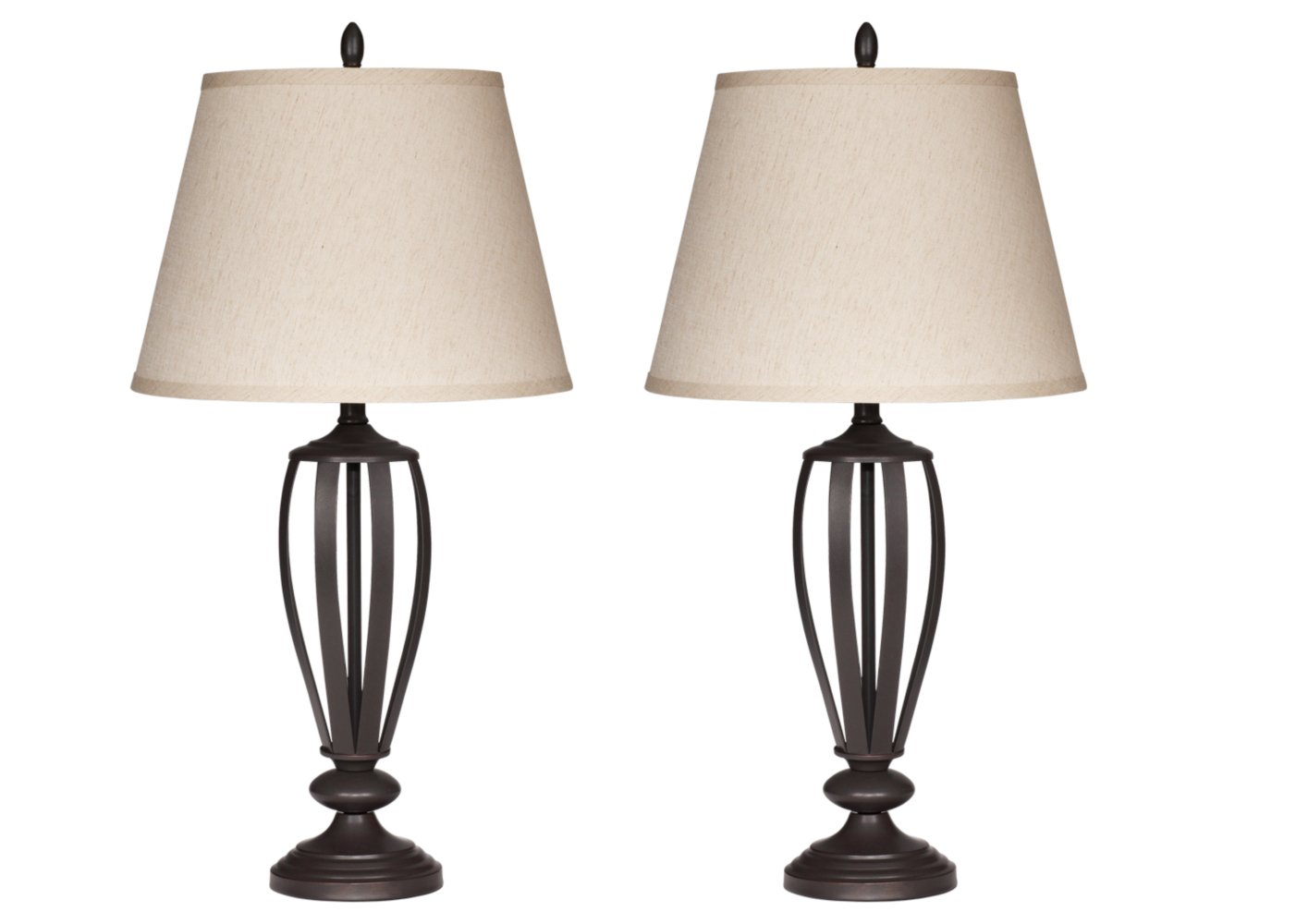 Ashley Furniture Signature Design - Mildred Metal Table Lamp - Vintage Casual Shades - Set of 2 - Bronze