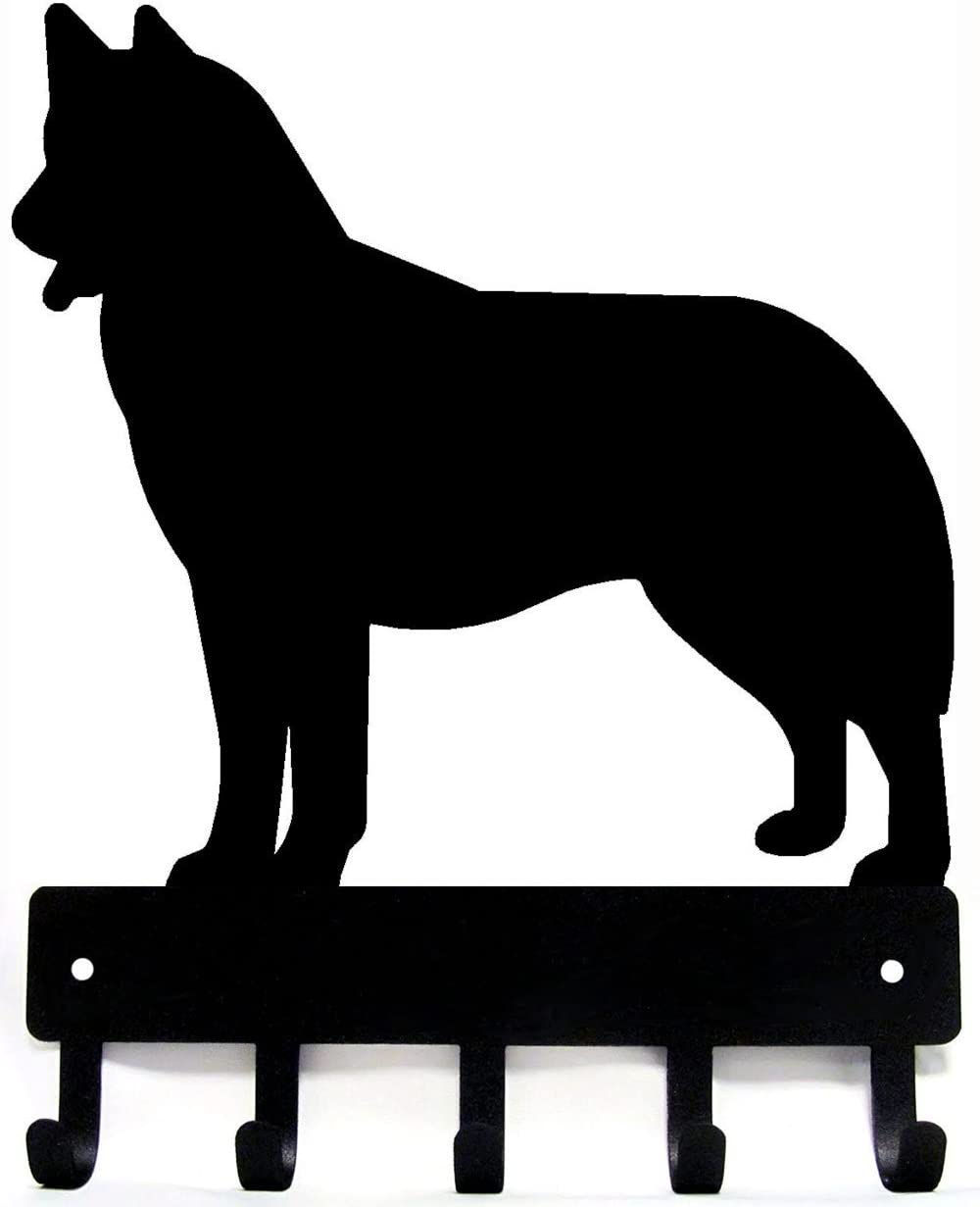 The Metal Peddler Husky Dog - Key Hooks & Holder - Small 6 inch Wide - Made in USA